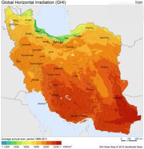 نقشه پتانسیل انرژی خورشیدی در ایران